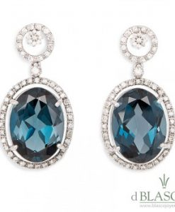 Pendientes Diamantes - Topacios London Blue
