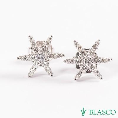 0e59ddcf0ecb Pendientes Estrellas de oro blanco y diamantes talla brillante ...