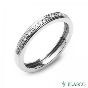 Alianza de diamantes talla brillante en oro blanco 18k. R5920