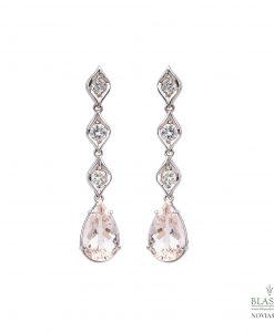 Pendientes Morganitas talla pera y diamantes