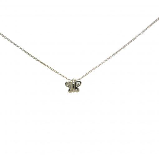 BLASCO BASIC Cadena oro blanco y Mariposa con diamantes