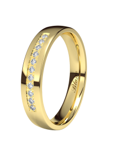 BLASCO BASIC Media alianza 4 mm de diamantes oro amarillo