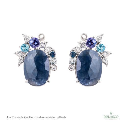 Pendientes diamantes zafiros tanzanitas