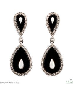 Pendientes onix y diamantes