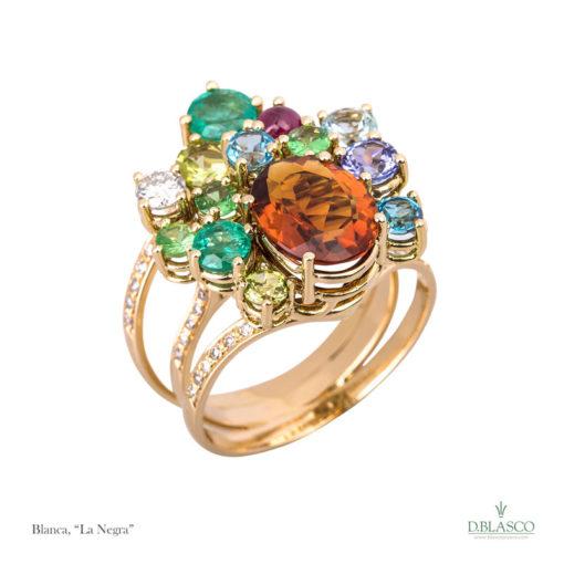 Anillo diamantes gemas color