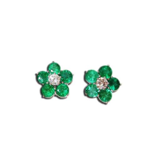 Pendientes esmeraldas diamantes Calasparra
