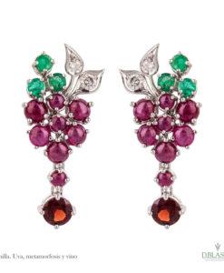 Pendientes diamantes rubí esmeralda