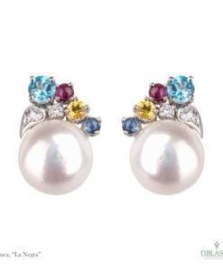 Pendientes perla gemas color