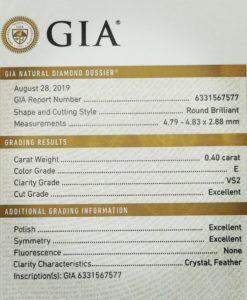 solitario 0,40 EVS2 certificado GIA River